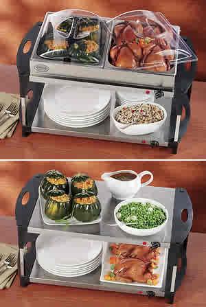 NOSTALGIA Mini 2-Station Buffet Server & Warming Tray