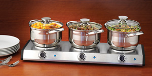 Nostalgia Electrics Stainless Steel Triple Burner Kettle Buffet